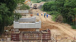 紅嶺灌區工程東干Ⅰ標1# 渡槽施工現場